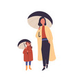 mother and daughter with umbrellas flat vector image vector image