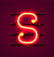 neon font letter s art design signboard vector image vector image