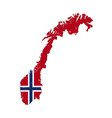 norway country silhouette with flag on background vector image