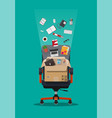 office chair and box with office itmes vector image vector image