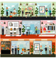 office life concept flat poster set vector image vector image