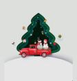 paper art merry christmas and winter season vector image