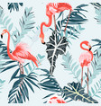 pink flamingo and exotic blue leaves blue backgrod vector image vector image