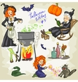 PrintHalloween Witches - 3 Hand drawn collection vector image