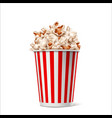 realistic popcorn in striped bucket box vector image