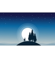 Reindeer with spruce of silhouettes vector image vector image