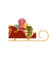 santa sleigh full of present boxes christmas icon vector image vector image