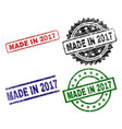 scratched textured made in 2017 stamp seals vector image