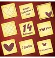 Set of nine valentine day gift card vector image