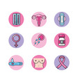 set types of cancer and medicine treatment vector image vector image
