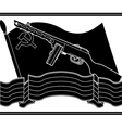 stencil of soviet machine gun and flag vector image