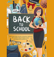 teacher with student school supplies poster vector image vector image