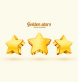 three golden stars template for mobile game vector image vector image