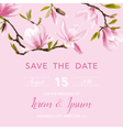 Wedding Invitation Card - with Floral Magnolia vector image vector image