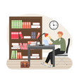 young man student studying at library sitting at vector image