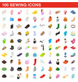 100 sewing icons set isometric 3d style vector image vector image