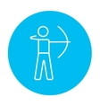 Archer training with bow line icon vector image vector image