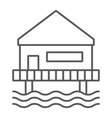 beach bungalow thin line icon seaside and hut vector image vector image