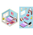 bedroom isometric bed lamp chair vector image vector image