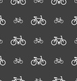 bicycle icon sign Seamless pattern on a gray vector image vector image