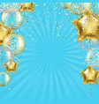 birthday poster with golden star balloons and vector image vector image