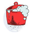 boiling pan cartoon hand drawn image vector image