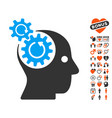 brain gears rotation icon with dating bonus vector image
