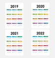 calendar 2019 2020 2021 and 2022 vector image vector image
