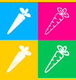 carrot sign four styles of icon on vector image