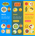cartoon home cooking healthy foods dishes menu vector image vector image