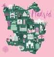 cartoon map madrid spain print design vector image vector image
