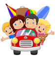 Cartoon vacation with family vector image vector image