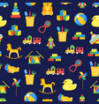 child toys background pattern on a blue vector image vector image