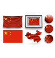 china flags collection isolated on white vector image