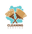 cleaning service isolated logotype with broom and vector image vector image
