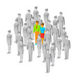colored couple among gray people vector image