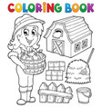 coloring book girl and farm objects vector image vector image