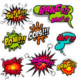 comic speech bubbles burst the boom wow hey ok vector image vector image