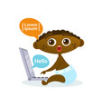 Cute african american baby boy using laptop