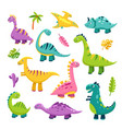 cute dino cartoon badinosaur stegosaurus vector image