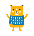 cute orange teddy bear in blue vest standing vector image vector image