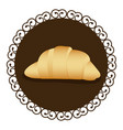 decorative frame with realistic picture croissant vector image vector image