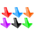down arrows 3d colored signs vector image vector image
