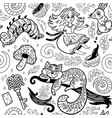 fairytale ink background with cartoon characters vector image vector image