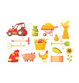 farm symbols set vector image vector image