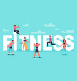 fitness characters young people exercising near vector image vector image