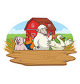 happy animals in the farm yard with blank wooden vector image vector image