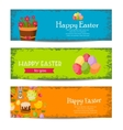Happy Easter banners set with Colorful Eggs vector image