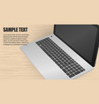 laptop at wood background vector image vector image