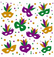 mardi gras pattern of mask with feathers and vector image vector image